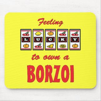 自身に幸運ボルゾイのおもしろい犬のデザイン マウスパッド