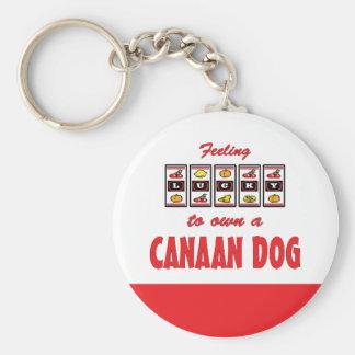 自身に幸運Canaan犬のおもしろい犬のデザイン キーホルダー