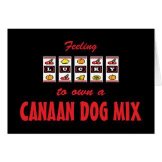 自身に幸運Canaan犬の組合せのおもしろい犬のデザイン カード