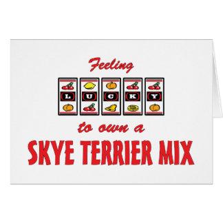 自身に幸運Skyeテリアの組合せのおもしろい犬のデザイン カード