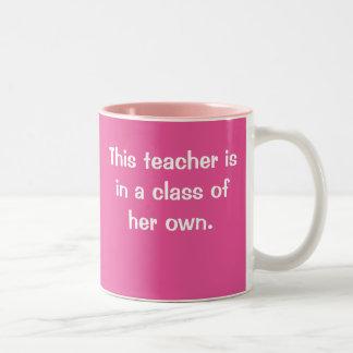 自身の女性の先生のスローガンのクラスの先生 ツートーンマグカップ