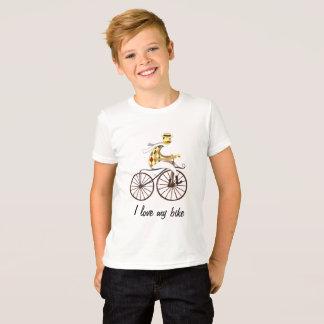 自転車および文字の流行の白のTシャツ Tシャツ