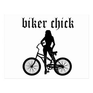 """自転車が付いている""""バイクもしくは自転車に乗る人ひよこ""""の女性のシルエット! ポストカード"""