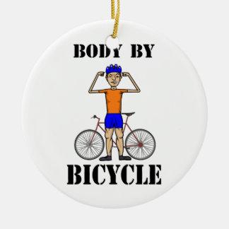 自転車での体 陶器製丸型オーナメント