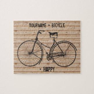 自転車と幸せで旧式な木製ベージュ色に匹敵します ジグソーパズル