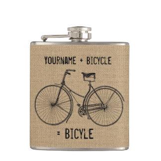 自転車と幸せで自然なバーラップ袋に匹敵します フラスク