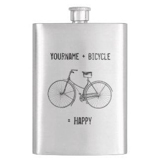 自転車と幸せなアンティークの車輪のバイクに匹敵します フラスク