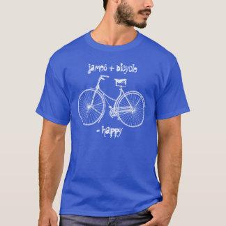 自転車と幸せなアンティークの車輪のバイクに匹敵します Tシャツ