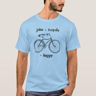 自転車と幸せなヴィンテージの車輪のバイクに匹敵します Tシャツ