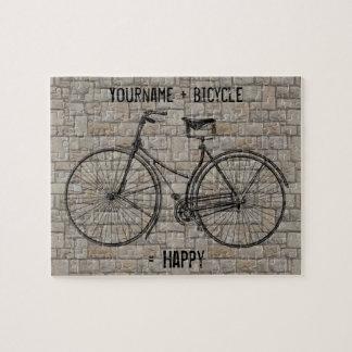 自転車と灰色幸せで旧式な煉瓦に匹敵します ジグソーパズル