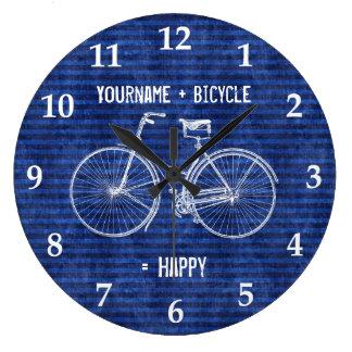 自転車と青い幸せで旧式なストライプに匹敵します ラージ壁時計