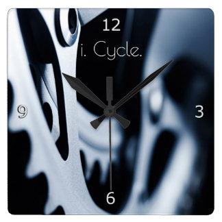 自転車のギアおよびi.周期。 文字 スクエア壁時計