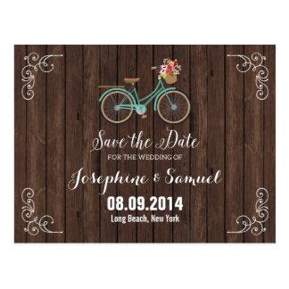 自転車のセーブ・ザ・デート案内木 ポストカード