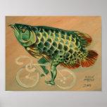 自転車のドラゴンの魚 ポスター