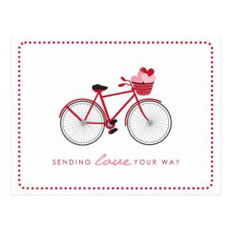 自転車のバレンタインの郵便はがき-ハートが付いている… ポストカード