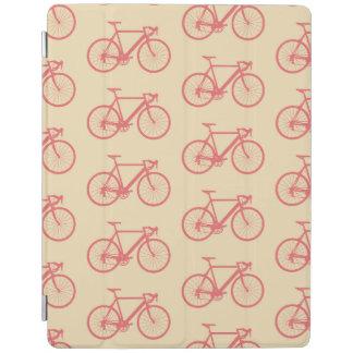 自転車のモダンなシルエットの珊瑚およびアイボリーパターン iPadスマートカバー