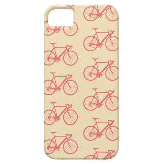 自転車のモダンなシルエットの珊瑚およびアイボリーパターン iPhone SE/5/5s ケース