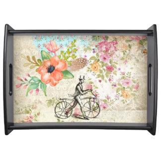 自転車のヴィンテージの絵の花柄 トレー