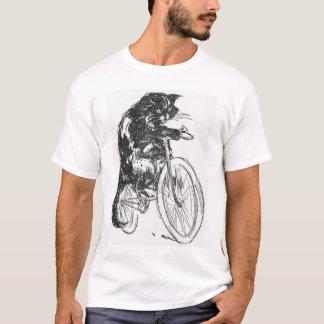 自転車のヴィンテージの黒猫 Tシャツ