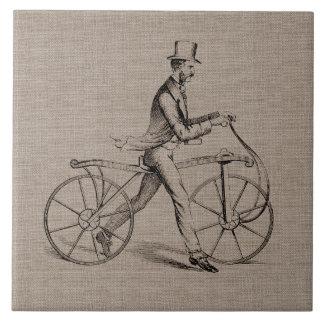 自転車のヴィンテージのSteampunkのスケッチのビクトリアンな人 タイル
