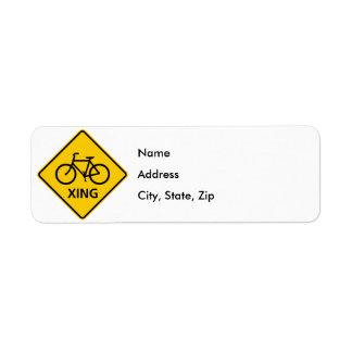 自転車の交差のハイウェーの印 ラベル