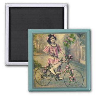 自転車の女の子の磁石 マグネット