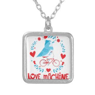 自転車の愛機械ブルーバードの鳥 シルバープレートネックレス