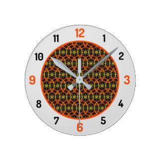 自転車の車輪パターンオレンジ黒 ラウンド壁時計