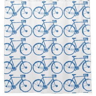 自転車の青いパターン シャワーカーテン
