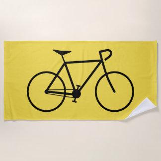 自転車の黒いシルエット ビーチタオル