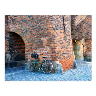 自転車、セントニコラス教会、コペンハーゲン、デンマーク ポストカード