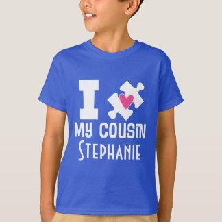 自閉症のいとこの名前入りな認識度のTシャツ Tシャツ
