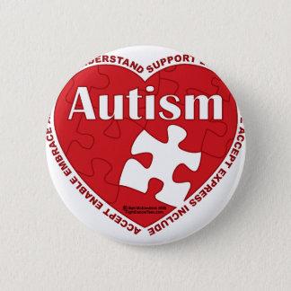 自閉症のハート 5.7CM 丸型バッジ