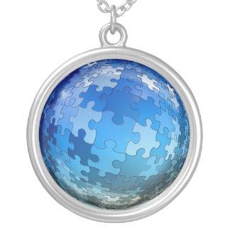 自閉症のパズルのネックレス シルバープレートネックレス
