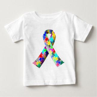 自閉症のリボン ベビーTシャツ