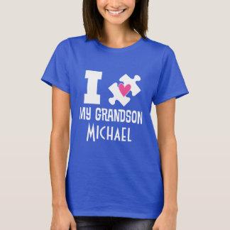 自閉症の孫の名前入りな認識度のTシャツ Tシャツ