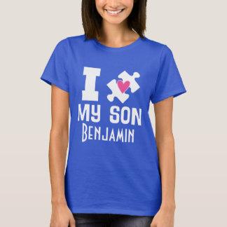 自閉症の息子の名前入りな認識度のTシャツ Tシャツ