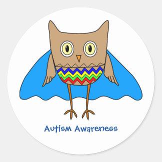 自閉症の英雄のフクロウの自閉症の認識度色 ラウンドシール
