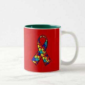 自閉症の認識度のジグソーパズルのリボンプロダクト ツートーンマグカップ