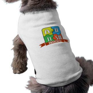 自閉症の認識度のタイポグラフィのグラフィック犬のタンクトップ ペット服