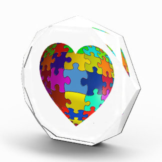 自閉症の認識度のパズルのハート 表彰盾