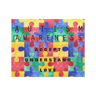 自閉症の認識度のパズルの包まれたなキャンバス キャンバスプリント