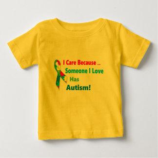 自閉症の認識度のリボンのデザイン ベビーTシャツ