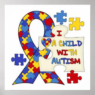 自閉症の認識度のリボンを持つ子供 ポスター