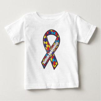 自閉症の認識度のリボン ベビーTシャツ