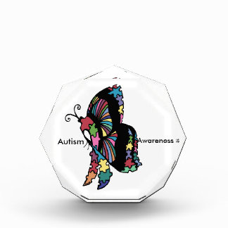 自閉症の認識度の側面の蝶 表彰盾
