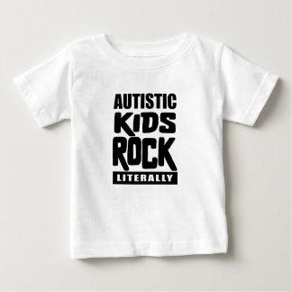 自閉症の認識度の文字通り自閉症の子供の石 ベビーTシャツ