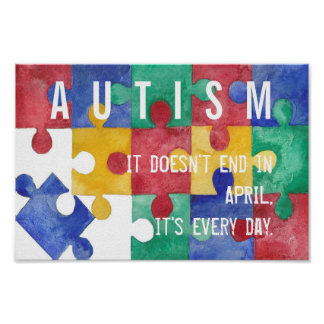 自閉症の認識度の水彩画ポスター ポスター