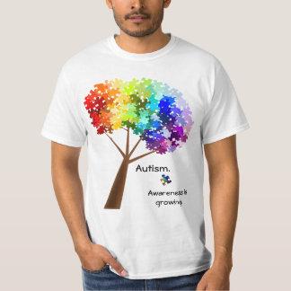 自閉症の認識度の虹のパズルの木 Tシャツ