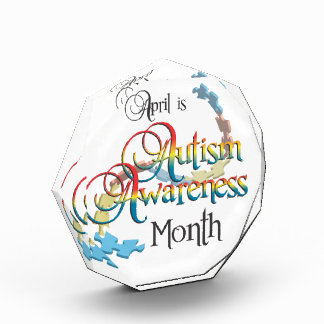 自閉症の認識度月のアクリル賞 表彰盾